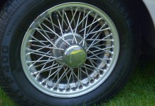 The great looking original wire wheels on my 1967 MG MGB GT