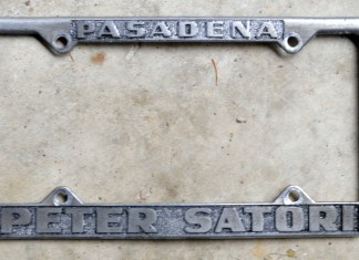 Peter Satori Pasadena license plate frame from 1968 before repainting