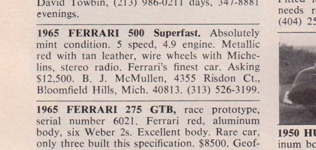 1965 Ferrari 500 Superfast ad in 1973 Road & Track