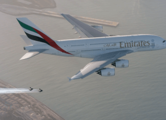 Emirates A380 and Jetman Yves Rossy Dubai Formation Flight