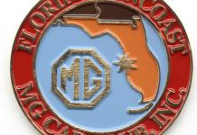 Florida Suncoast MG Car Club enamel car emblem
