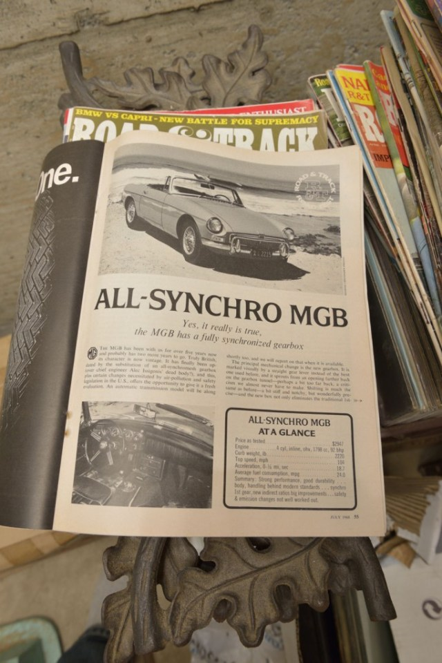 Old Road & Track magazine with article about all-synchro MGB