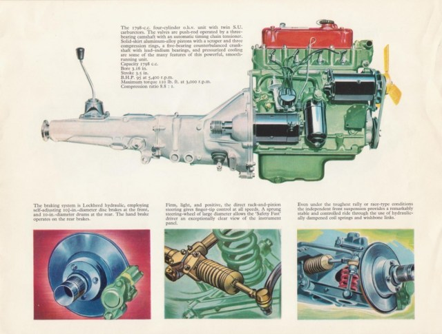 MG MGB Roadster brochure 1967 engine and drivetrain