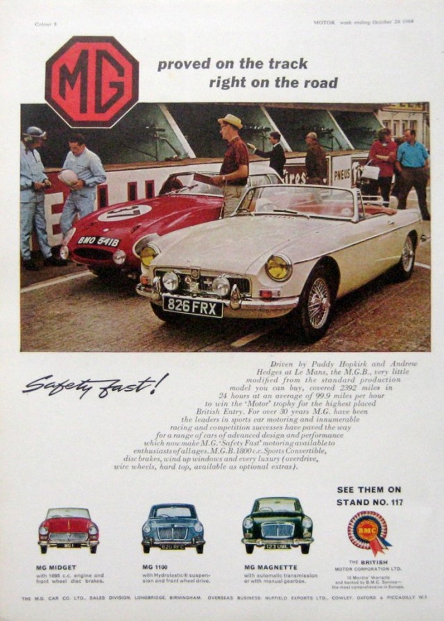 Paddy Hopkirk and Andrew Hedges drove the MGB 2,392 miles at an average speed of 99.9 miles per hour in 1964