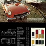 Paint colours MG MGB Roadster brochure