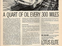 Lotus Elite - A quart of oil every 300 miles