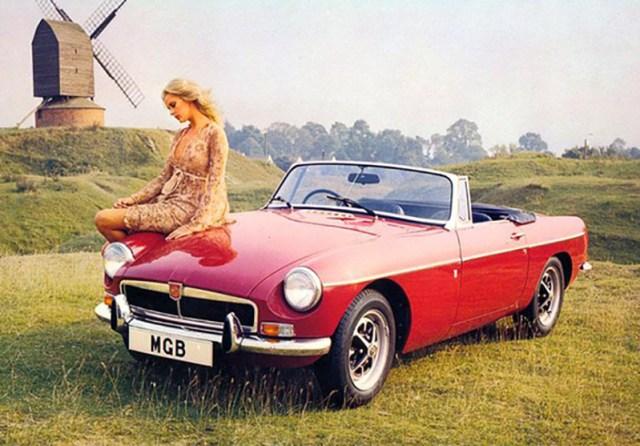 1972 MG MGB girl with windmill