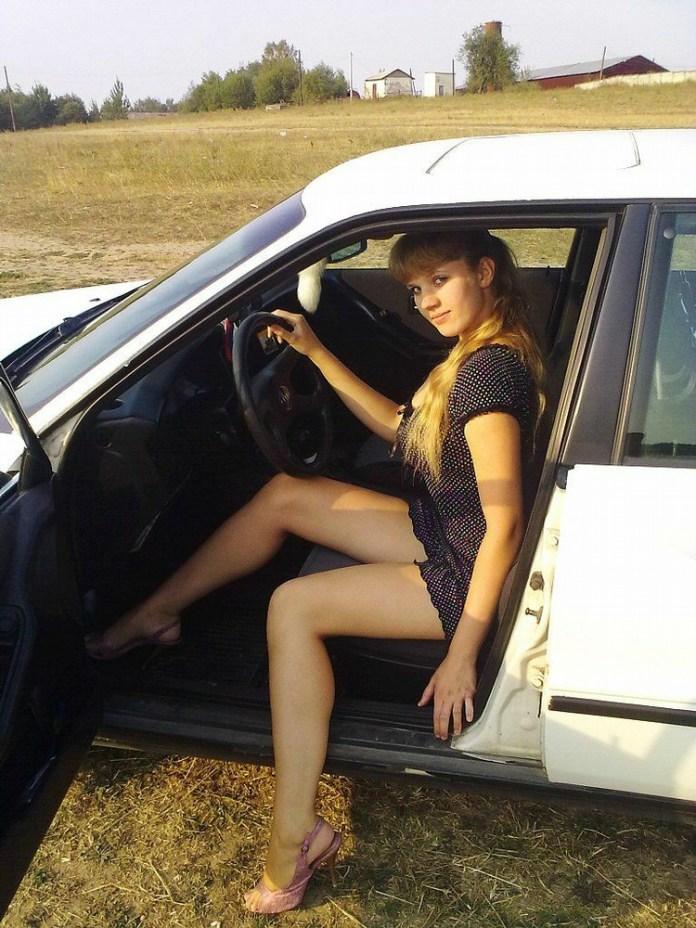 Nice legs in a Russian Audi