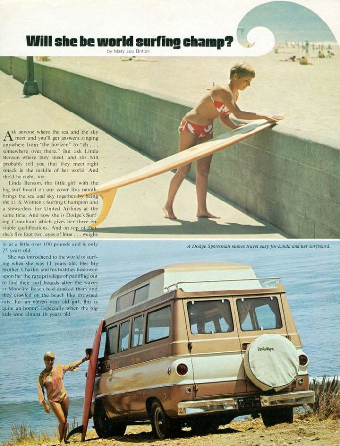 Dodge camper van ad with surfboard chick