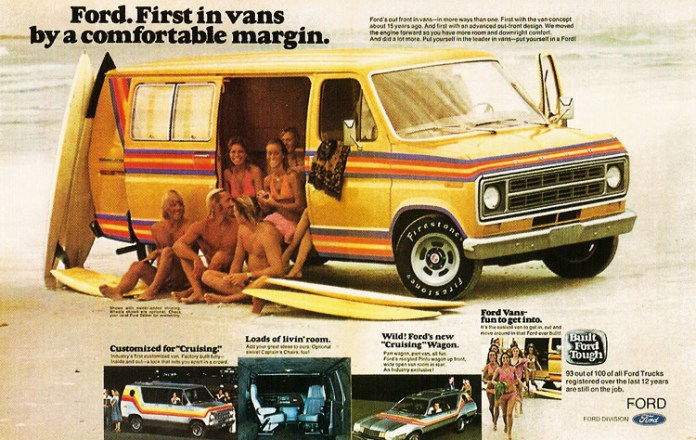 Ford hippie van with surfboards