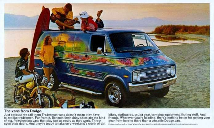 Hippie surfboard Dodge Van ad