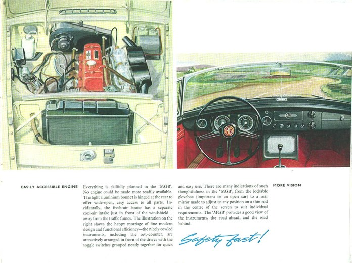 MG MGB Roadster 1962 brochure - engine and cockpit
