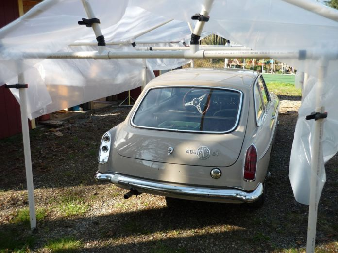 Temporary structure covering my 1967 MGB GT