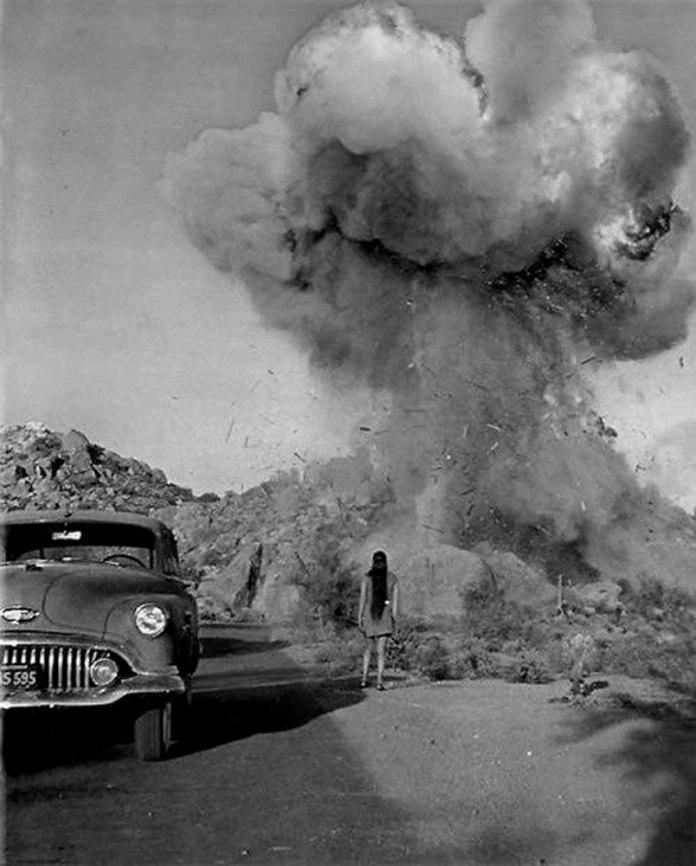 Women watching explosion