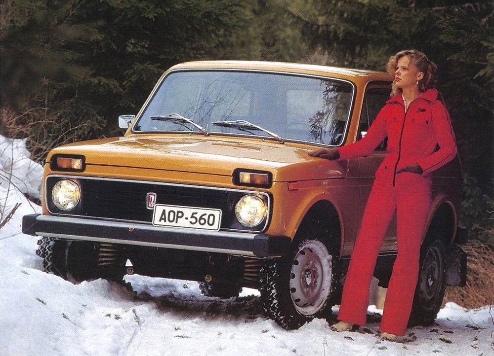 Lada girls with skis somewhere in Russia