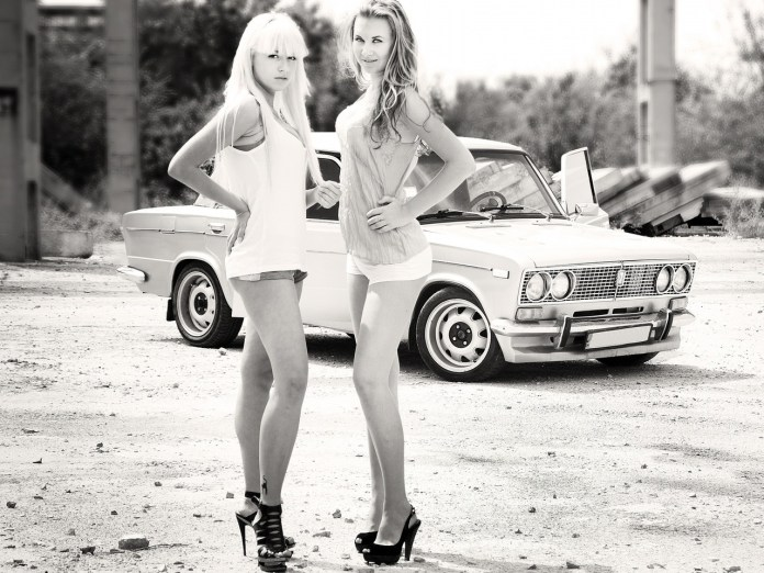 Lada girls in black and white