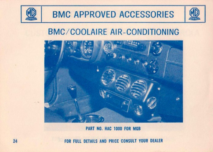 BMC Your Passport to Service air conditioning for the MGB