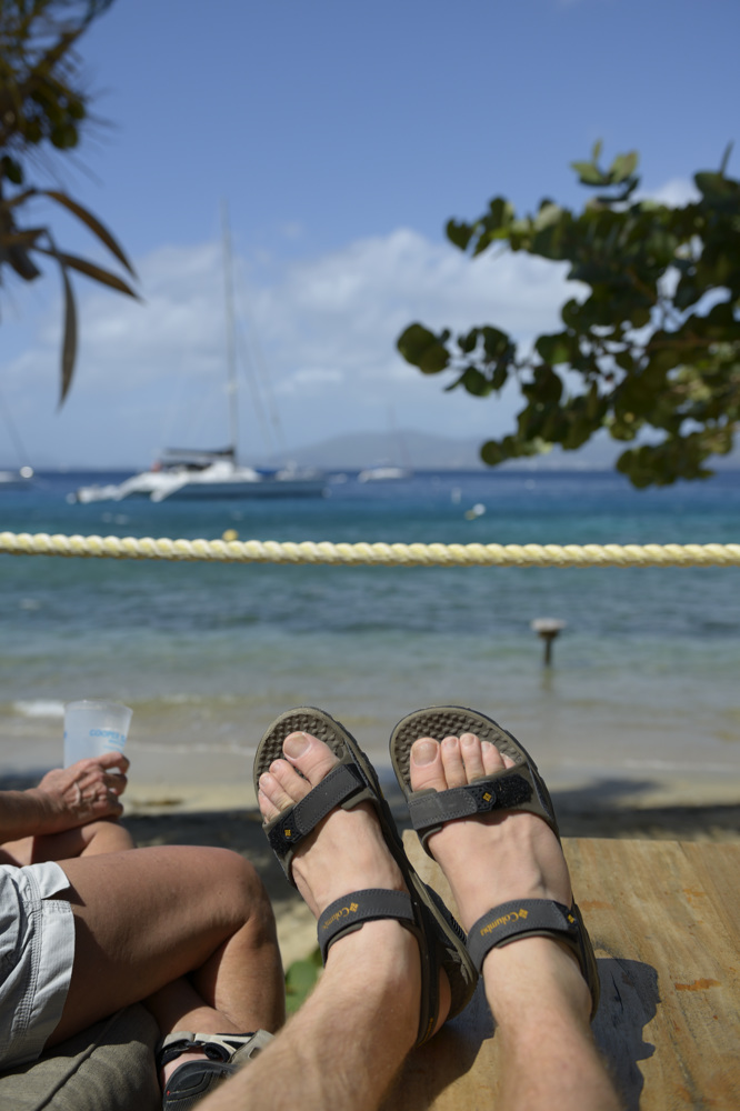Putting my feet up on the deck at the Cooper Island Beach Club, Cooper Island, British Virgin Islands