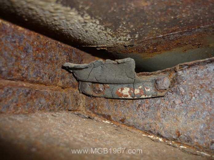Fender ledge rust on driver side of MGB GT