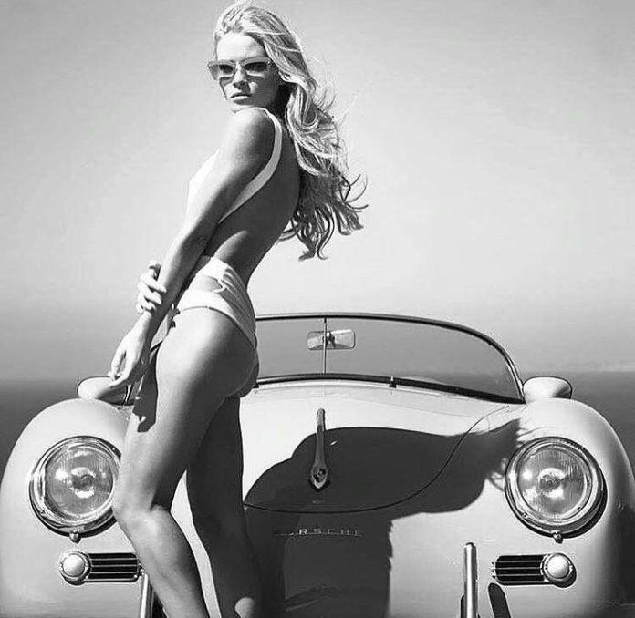 Pretty blonde with Porsche 356