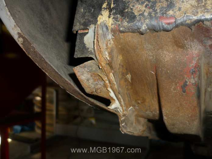 Surface rust on the MGB GT undercarriage