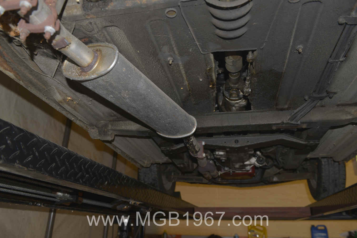 MGB undercarriage before cleaning | 1967 MGB GT
