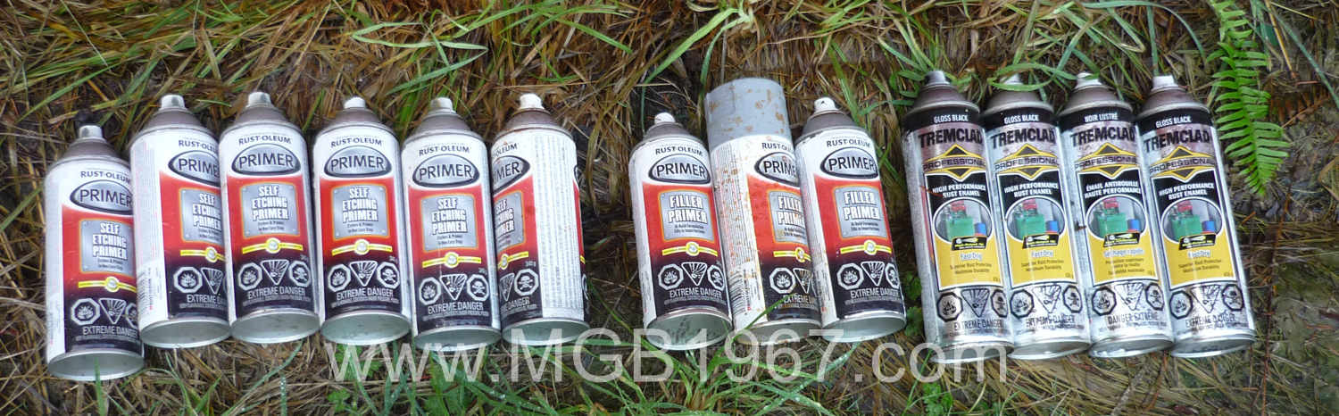 Lots of Rust-Oleum and Tremclad paint cans