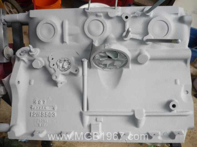 MGB 18V block covered with self etching primer