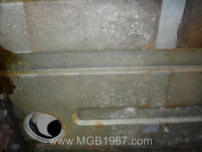 MGB GT body above fuel tank