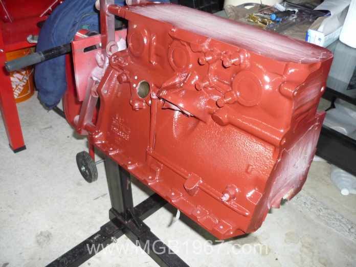 MGB engine after 4 coats of paint