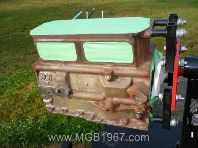 MGB engine block ready for primer
