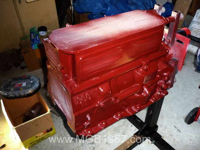 MGB engine painted in Tremclad Wild Cranberry