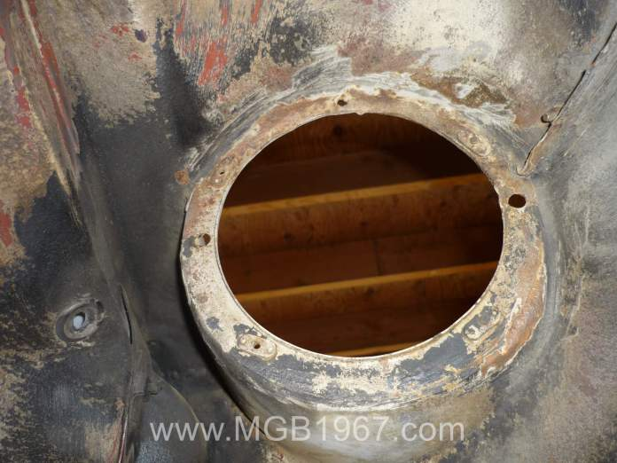 Rust repair required in MGB headlight area