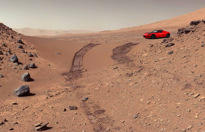 Cherry Red Tesla Roadster on Mars