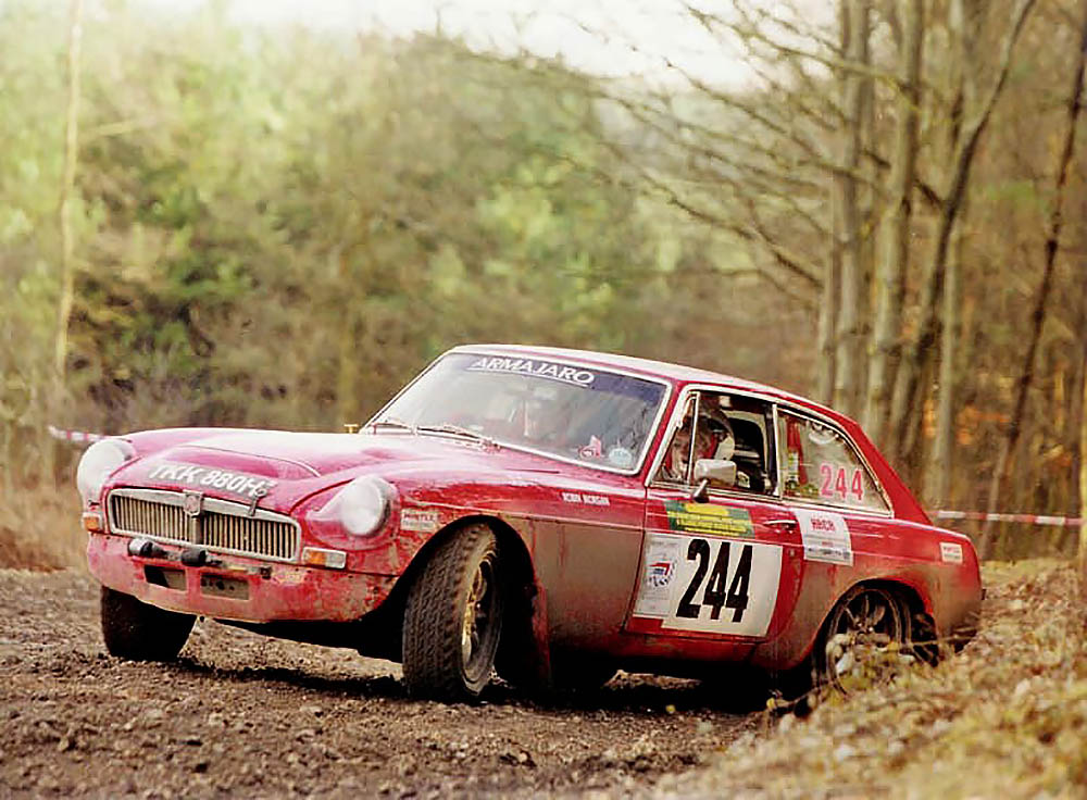 Racing MGC in rally