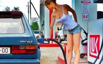 Sexy Oregon girl pumping gas