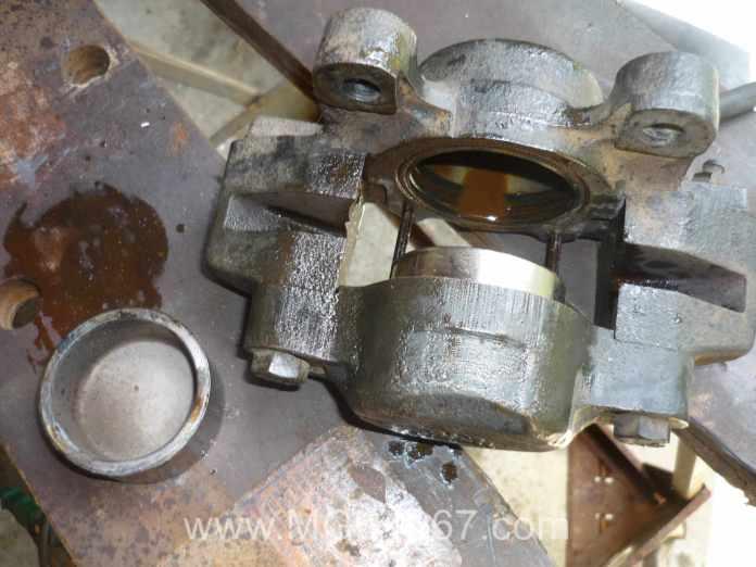 MGB GT brake calipers almost clean