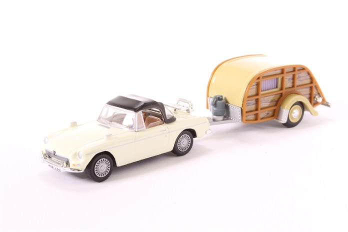 MGB with woody travel trailer