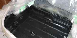 Tough undercoating in the MGB GT trunk