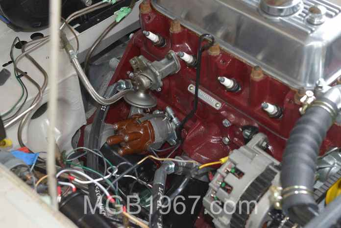 Messy wiring in MGB GT engine bay