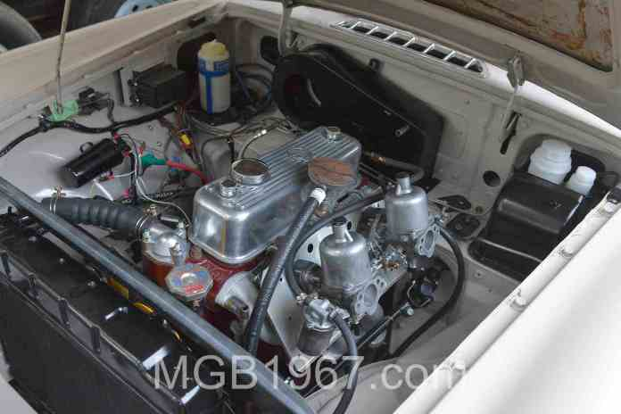Restored MGB GT engine and engine bay