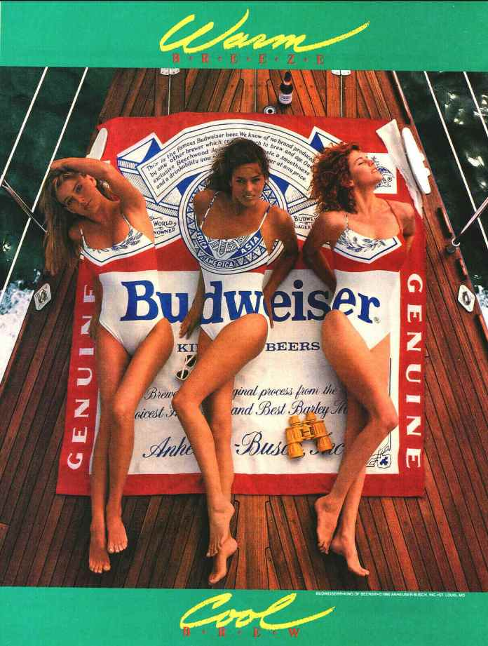 1990 Budweiser Beer Swimsuit Magazine Ad