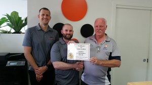 Hunter Performance Physio - Ryan Kennedy (Left) Tim Paine (Centre) and Michael Snow