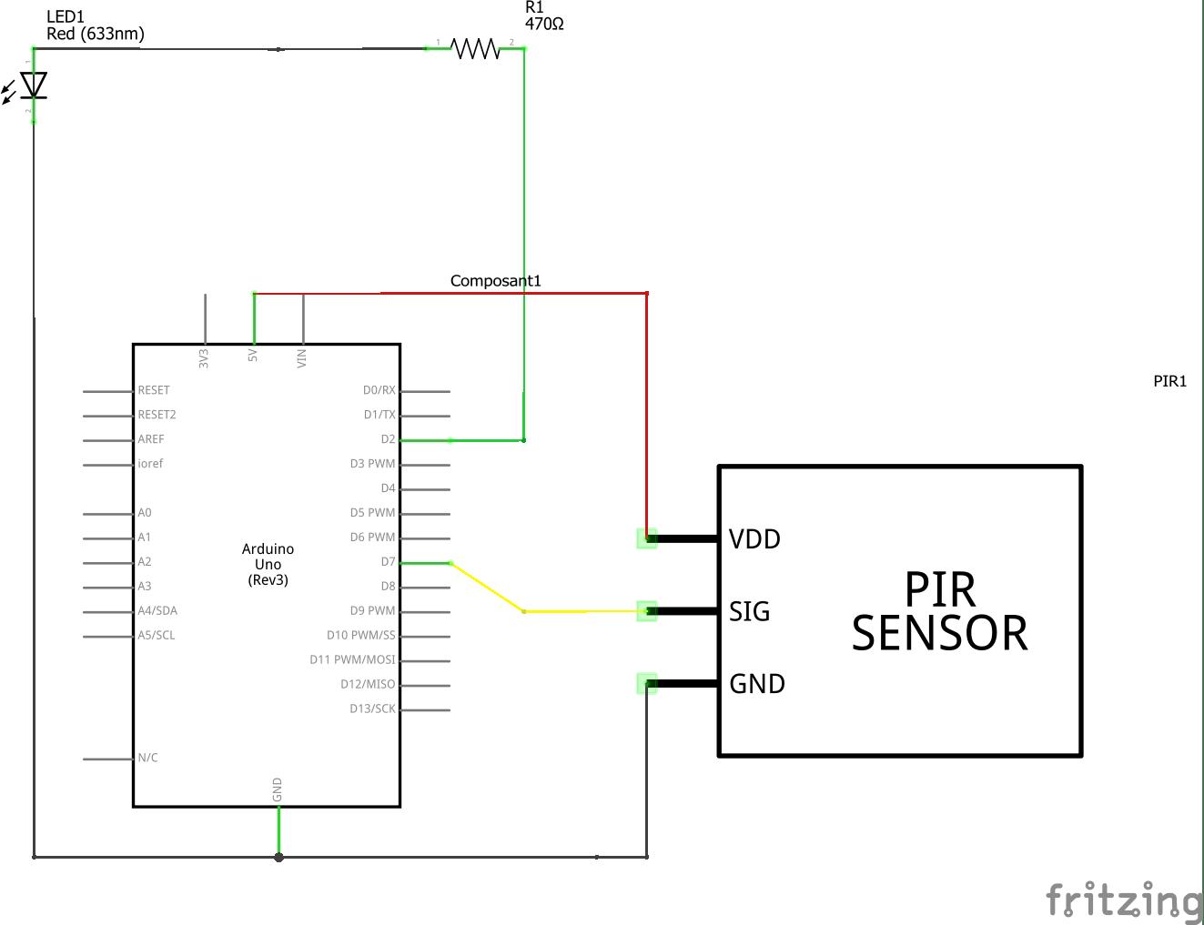 usare i PIR con Arduino-collegamento con Arduino Fritzing schema elettrico