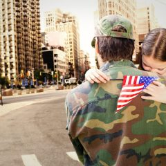 42360139 - father reunited with daughter against new york street