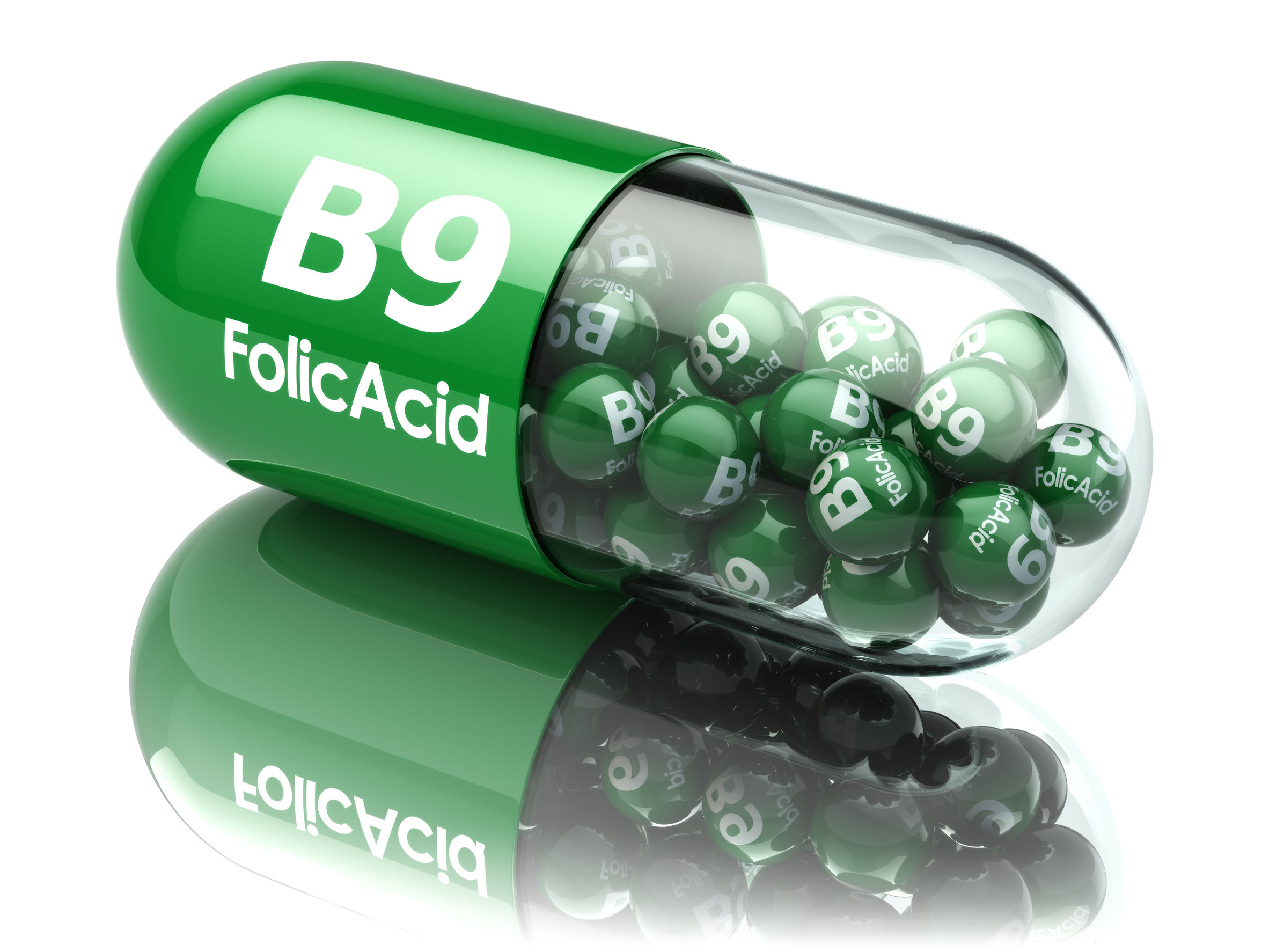 47531853 - pills with b9 folic acid element. dietary supplements. vitamin capsules. 3d