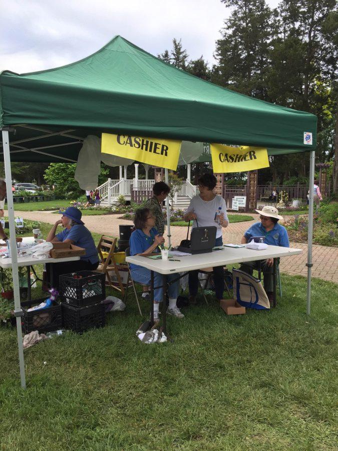 Cashier's table at Greenspring Master Gardener Tent