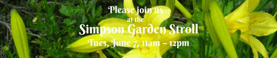Please join us at the SimpsonGarden Strool Tuesday, June 7, 11am to 12 pm