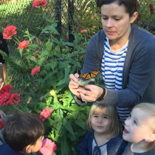 Children at Glencarlyn Library Community Garden prepare to release monarch butterflies. Photo courtesy of Judy Funderburk