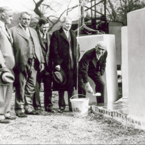 Laying the new conservatory cornerstone, 1931 (Photo: Architect of the Capitol)]